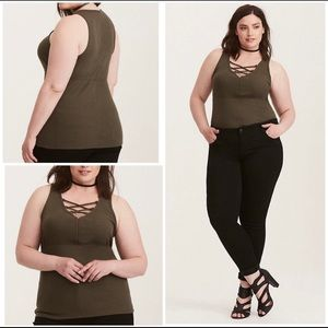 Torrid Lace Up Ribbed Knit Stretch Olive Tank 3X